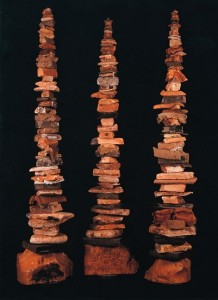 3 Brown Foam Totems - John Dahlsen