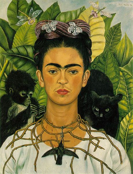 Frida Kahlo - Self-Portrait with Thorn Necklace and Hummingbird 1940