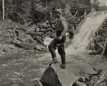 Tom Thomson at Tea Lake Dam Algonquin-Park 1916