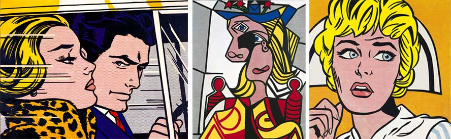 Roy Lichtenstein, Left: In the Car - 1963 | Middle: Woman with Flowered Hat, 1963 | Right: Nurse, 1964 All images © Estate of Roy Lichtenstein