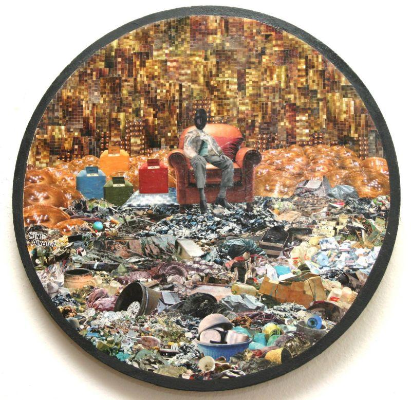 Senhor-do-lixo-colagem-sobre-madeira © Silvio Alvarez