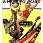 Saturday Evening Post - J.C. Leyendecker Parade View from Lamp Post 1937