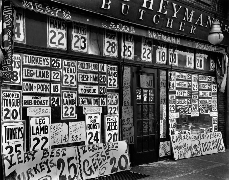 Berenice Abbott jacob-heymann-butcher-shop-345-sixth-avenue-new-york - 1938