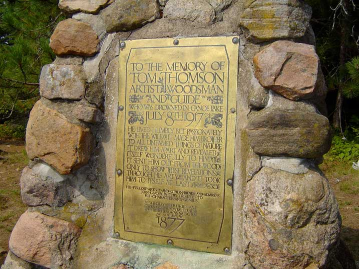 Tom Thomson Memorial-Cairn-Hayhurst-Point-overlooking-Canoe-Lake-in-Algonquin-Park