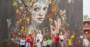 Herakut Street Art workshop in-Refugee Asylum- in Potsdam Germany herakut.de